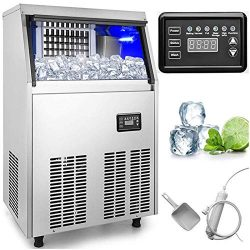 VEVOR 110V Commercial Ice Maker 150LBS in 24 Hrs with 33lbs Storage Capacity Stainless Steel 45  ...