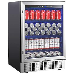 Aobosi 24 Inch Beverage Cooler, 164 Cans Freestanding and Built-in Beverage Refrigerator with Ad ...