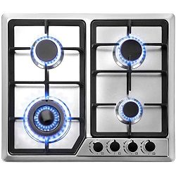 Happybuy 23×20 inches Built in Gas Cooktop 4 Burners Gas Stove Cooktop Stainless Steel Cook ...