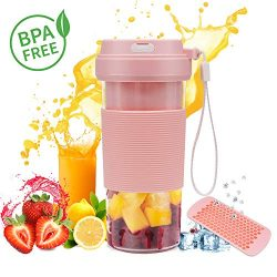 Portable Blender USB Rechargeable, CREATIVE DESIGN Small Blender Cordless Personal Blender for S ...