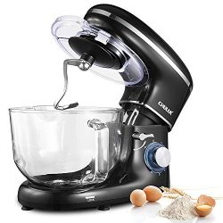 CHULUX Electric Stand Mixer, 660W Tilt-Head Kitchen Food Mixing Machine, 5.5 QT Spout Glass Bowl ...