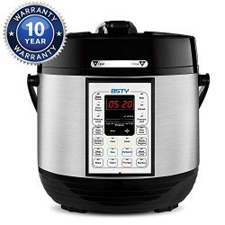 BSTY Premium 6 Quart Pressure Cooker with 13-in-1 Cook Modes Including Slow Cooker and Manual El ...