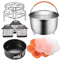 Accessories Set Compatible with Instant Pot 6,8 QT, Steamer Basket with Divider, Springform Pan, ...