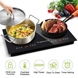 Trighteach Portable Induction Cooktop(Double Countertop Burner) 2200W Electric Stove with Digita ...