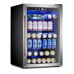 Antarctic Star Beverage Refrigerator Cooler-120 Can Mini Fridge Glass Door for Soda Beer Wine St ...