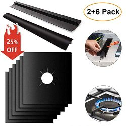 6 Pcs Gas Stove Burner Covers + 2 Pcs Silicone Kitchen Stove Counter Gap Cover,MSDADA Gas Range  ...