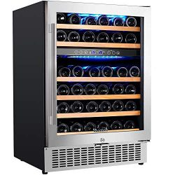 【Upgraded】Aobosi 24 Inch Dual Zone Wine Cooler 46 Bottle Freestanding and Built in Wine Refrig ...