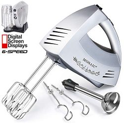 Hand Mixer Electric MOSAIC Kitchen Mixer 5 Stainless Steel Attachments with Turbo Function Inclu ...
