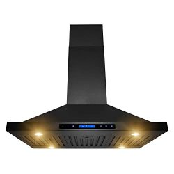 AKDY Island Mount Range Hood 36″ Black Painted Finish Stainless-Steel Hood Fan for Kitchen ...