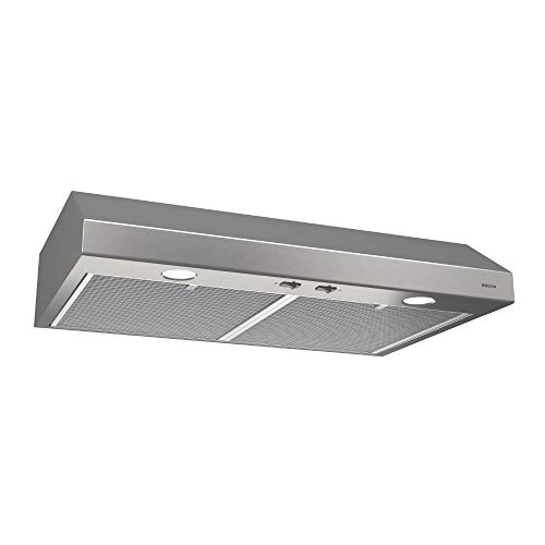 Broan-NuTone BCSD124SS Glacier Range Hood with Light, Exhaust Fan for Under Cabinet, Stainless S ...