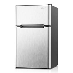 Euhomy Compact Mini Fridge with Freezer, 3.2 Cu.Ft 2-Door Under Counter Refrigerator with Freeze ...