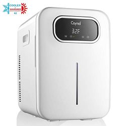 CAYNEL 20 Liter Compact Fridge Cooler and Warmer, Portable Mini Personal Fridge, Dual-Core Cooli ...