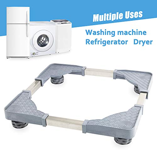 Mobile Bases Adjustable Movable Base Washer Dryer Dolly with 4 Strong Feet Washing Machine Refri ...