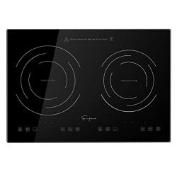Empava IDC12B2 Horizontal Electric Stove Induction Cooktop with 2 Burners in Black Vitro Ceramic ...