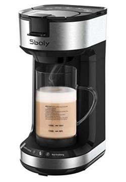 Single Serve Coffee Maker with Milk Frother, 2-Way Coffee Machine for K-Cup Pods & Ground Co ...