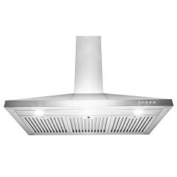 AKDY Wall Mount Range Hood 36″ Stainless-Steel Kitchen Hood Fan 3-Speed Professional Motor ...