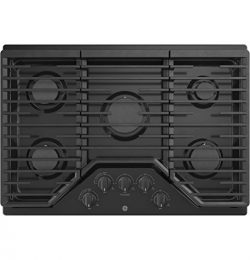 GE JGP5030DLBB 30 Inch Gas Cooktop with Power Boil, Simmer, Continuous Grates, 5 Sealed Burners  ...