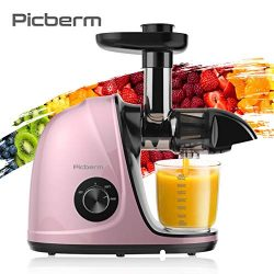 Juicer Machines, Picberm Slow Masticating Juicer Extractor with Quiet Motor Easy to Clean, BPA-F ...