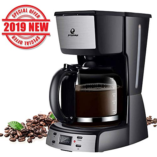 Posame Electric Coffee Makers-12 Cup Programmable Smart Drip Coffee Maker Brew Machine with 1.6Q ...