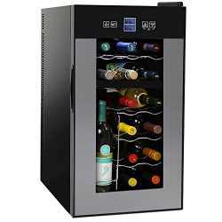 NutriChef PKTEWCDS1802 18 Bottle Dual Zone Thermoelectric Wine Cooler – Red and White Wine ...