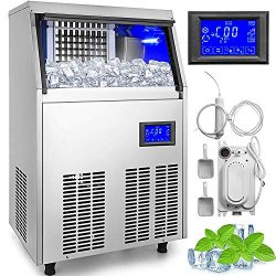 VEVOR 110V Commercial Ice Maker 88LBS/24H with Water Drain Pump 33LBS Storage Stainless Steel Co ...