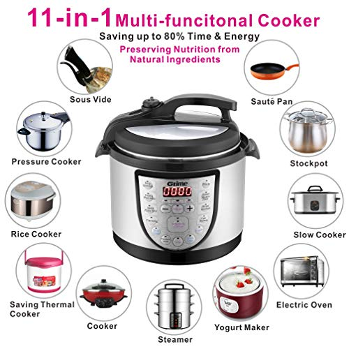 Electric Pressure Cooker 4Qt Slow Cook Programmable 18 Kinds of Cooking Option with Stainless St ...