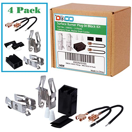DIKOO 4 Pack 330031 Range Top Burner Kit for Whirlpool Kenmore Sears Roper Refrigerators Oven Re ...