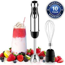 BSTY 2-in-1 Hand Blenders Set 15-Speeds Powerful Immersion Blender with 500-Watt Motor and Turbo ...