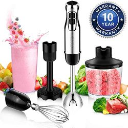 BSTY 5-in-1 Hand Blenders Set 15-Speeds Powerful Immersion Blender with 500-Watt Motor and Turbo ...