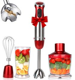 KOIOS Powerful 800W 4-in-1 Hand Immersion Blender 12 Speeds, Includes 304 Stainless Steel Stick  ...