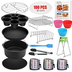 Air Fryer Accessories, 16 Pcs with Recipe Cookbook And Magnetic Cheat Sheet for Gowise Ninja Cos ...