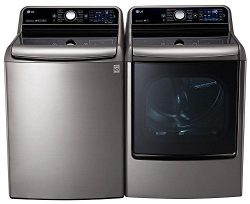 LG Graphite Steel Top Load Laundry Pair with WT7700HVA 29″ 5.7 Cu. Ft. Washer and DLEX7700 ...