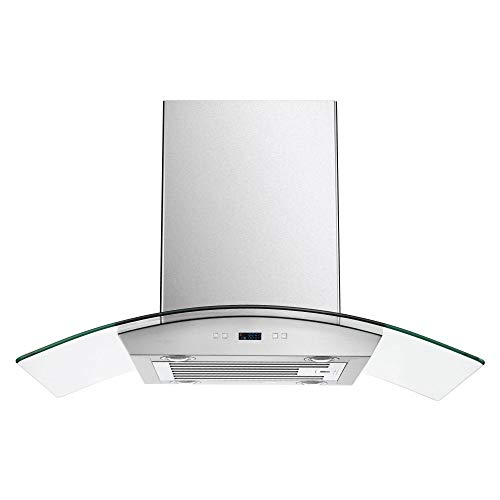 CAVALIERE 36″ Inch Glass Canopy Island Mounted Stainless Steel Kitchen Range Hood
