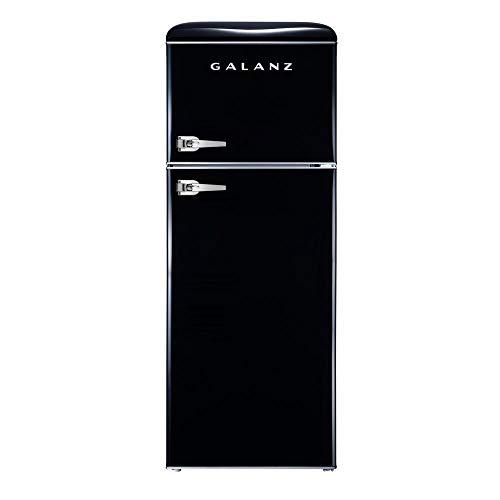 Galanz – Retro Look Refrigerator, 7.6 Cu Ft Refrigerator Dual Door True Freezer (RETRO), E ...