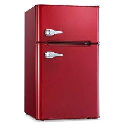 Antarctic Star Compact Mini Refrigerator Separate Freezer, Small Fridge Double 2-Door Adjustable ...