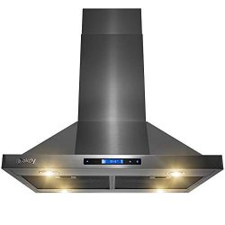 AKDY Island Mount Range Hood -30″ Black Stainless Steel Hood for Kitchen – 3 Speed P ...