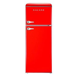 Galanz – Retro Look Refrigerator, 7.6 Cu Ft Refrigerator Dual Door True Freezer (RETRO), E ...