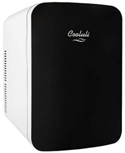 Cooluli Infinity Black 15 Liter Compact Portable Cooler Warmer Mini Fridge for Bedroom, Office,  ...