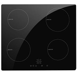 NOXTON Electric Induction Cooktop Stove Built-in 4 Burners Induction Cooker Black Glass with Tou ...