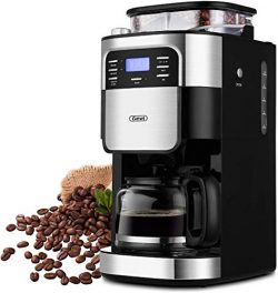 Coffee Maker, 10-Cup Programmable Coffee Makers with Timer mode and Auto-off Function, Grind Cof ...