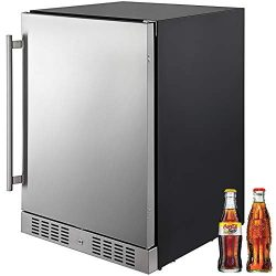 "VBENLEM 24"" Built-in Stainless Steel Beverage Cooler 5.5 cu.ft. Small Reversible Door Refr ..."