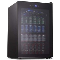 Joy Pebble Beverage Cooler and Refrigerator, 126 Can Mini Fridge with Glass Door for Soda Beer o ...