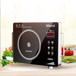 Induction Cooktop Stove,Electric Ceramic Heaters Cooker with Timer Temperature Control Smart Tou ...