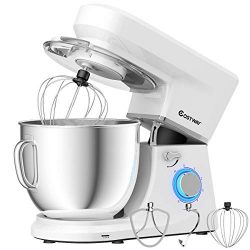 COSTWAY Stand Mixer, 6-Speed 7.5 QT Tilt-head Electric Kitchen Food Mixer 660W with Stainless St ...