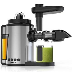 DORINI 2in1 Masticating Juicer & Citrus Juicer | Slow Juicer | Cold Press Juicer with Brush  ...