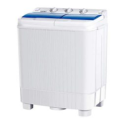 KUPPET Portable Washing Machine, 17lbs Compact Twin Tub Washer and Spin Dryer Combo for Apartmen ...