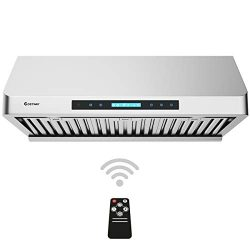 COSTWAY Under-Cabinet Range Hood, 30-Inch 900 CFM, 4 Speed Touch Screen Panel, Stainless Steel K ...