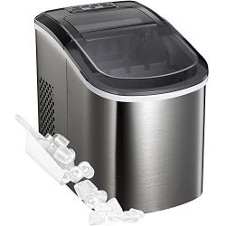 Portable Automatic Ice Maker Stainless Steel Countertop Ice Machine, Makes 26 lbs of Ice per 24  ...