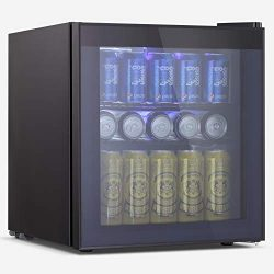 BOSSIN Beverage Refrigerator and Cooler, 60 Can Capacity with Smoky Gray Glass Door for Soda Bee ...