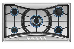 Empava 36XGC202 36 Inch Stainless Steel Gas Professional 5 Italy Sabaf Burners Stove Top Certifi ...